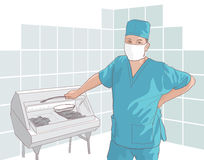 The doctor at work. Illustration Stock Photo