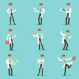 Doctor Work Process Set Of Hospital Related Scenes With Young Medical Worker Cartoon Character. Man Working In Healthcare Different Situations Series Of Vector Stock Photos