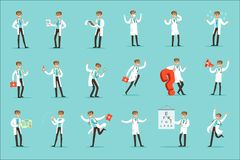Doctor Work Process Set Of Hospital Related Scenes With Young Medical Worker Cartoon Character Stock Photo