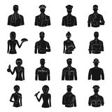 Doctor, worker, military, artist and other types of profession.Profession set collection icons in black style vector Royalty Free Stock Image