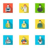 Doctor, worker, military, artist and other types of profession.Profession set collection icons in flat style vector. Symbol stock illustration Stock Image