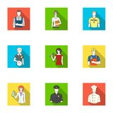 Doctor, worker, military, artist and other types of profession.Profession set collection icons in flat style vector. Symbol stock illustration Stock Photos