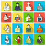 Doctor, worker, military, artist and other types of profession.Profession set collection icons in flat style vector. Symbol stock illustration Royalty Free Stock Photos