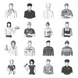 Doctor, worker, military, artist and other types of profession.Profession set collection icons in monochrome style Stock Photos