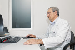 Doctor working at computer sideview Royalty Free Stock Image