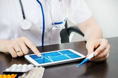 Doctor working with digital tablet Royalty Free Stock Image