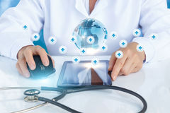 The doctor working in global health network . stock photography