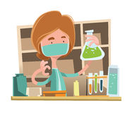 Doctor working at laboratory  illustration cartoon character Stock Photo