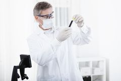 Doctor working with microscope and blood Stock Photography