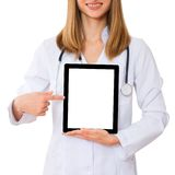 Doctor working with tablet Stock Photo