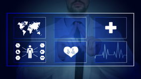 Doctor working on a virtual screen. medical technology concept. pulse stock video