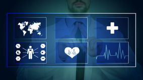 Doctor working on a virtual screen. medical technology concept. pulse stock video footage