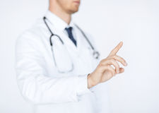Doctor working with virtual screen Royalty Free Stock Photo