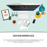 Doctor workplace. Medicine icons set in flat design style. Flat. Stock Image
