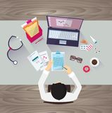 Doctor workplace, vector illustration. Male person Royalty Free Stock Photos