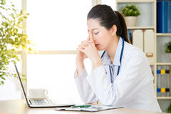 Doctor worry about patient`s condition using computer, healthcar. E and medicine concept, hospital office background Stock Photo
