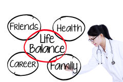 Doctor writes life balance concept Stock Photos