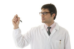 Doctor writing on copy-space Royalty Free Stock Images