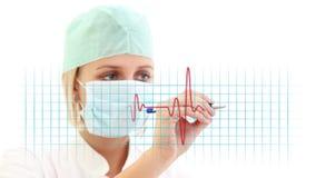 Doctor writing EKG stock footage