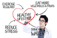 Doctor writing healthy lifestyle concept Stock Photo