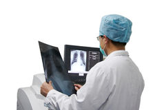 Doctor and x-ray computer Royalty Free Stock Photo