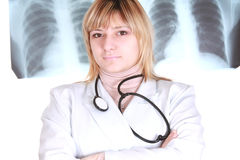 Doctor on x-ray picture background Royalty Free Stock Photo