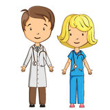 Doctor y enfermera de la historieta Foto de archivo libre de regalías