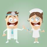 Doctor y enfermera divertidos de la historieta Imagenes de archivo