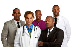 Doctor y hombres de negocios aislados en el fondo blanco fotografía de archivo