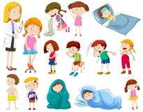 Doctor y muchos pacientes enfermos libre illustration