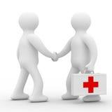 Doctor y paciente en el fondo blanco Imágenes de archivo libres de regalías