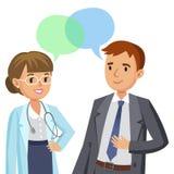 Doctor y paciente Hombre que habla con el médico Vector stock de ilustración