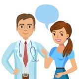 Doctor y paciente Mujer que habla con el médico Vector stock de ilustración