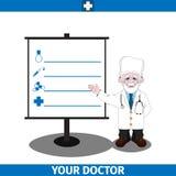 Doctor y tablero de la información Foto de archivo libre de regalías