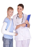 Doctor and young boy Royalty Free Stock Photos