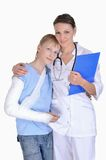 Doctor and young boy with a broken arm Stock Image
