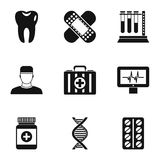 Doctoral icons set, simple style. Doctoral icons set. Simple illustration of 9 doctoral vector icons for web Stock Photography