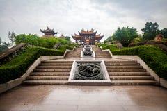 A-doctorandus in de letteren cultureel dorp in de regenachtige dag, Macao stock foto's