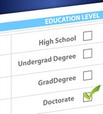 Doctorate education level survey Stock Image