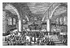 Doctorate presentation at Altdorf University, 18th century. Doctorate at Altdorf University near Nuremberg, XVIII century vintage engraving Vector Illustration