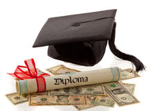 Doctorates and the dollar. Stock Photo