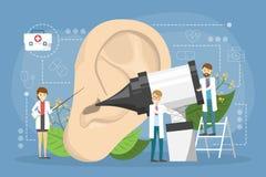 Doctore machen Ohrprüfungskonzept Idee der ?rztlichen Behandlung lizenzfreie abbildung