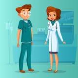 doctores de la mujer del hombre de la historieta fijados libre illustration