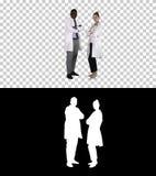 Doctores de la mujer y del hombre con los brazos cruzados, Alpha Channel foto de archivo