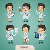 Doctores personajes de dibujos animados Set1.1 Fotos de archivo libres de regalías
