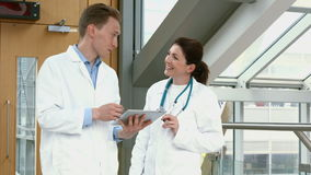 Doctores que hablan en el vestíbulo almacen de metraje de vídeo