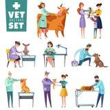 Doctores y animales del veterinario fijados ilustración del vector