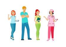Doctores y enfermeras en uniforme Gente con una profesión médica Personal médico Icono aislado en el fondo blanco Illustra del ve Imagenes de archivo