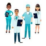 Doctores y equipo de las enfermeras Personal médico de la historieta Concepto del equipo médico Cirujano, enfermera y terapeuta e libre illustration