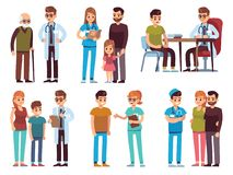 Doctores y pacientes Ayuda profesional de la clínica del tratamiento de la diagnosis del hospital del personal de oficina de la m libre illustration